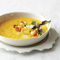 Chilled Peach Soup with Fresh Goat Cheese // More Cold Soups: www.foodandwine.com/slideshows/cold-soups #foodandwine
