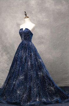 Navy Blue Prom Dresses, Strapless Prom Dresses, Dress Prom, Navy Blue Gown, Navy Blue Evening Gown, Sparkle Dresses, Short Dresses, Long Gowns, Formal Dresses