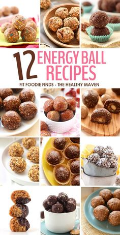 A round-up of 12 Healthy Energy Ball Recipes to suit any mood! From high-protein, to low sugar, from chocolate to pumpkin everyone will find a flavor they love! | Fit Foodie Finds