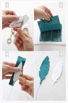 Fabric Feather Tut, awesome for Fall. Statt Stoff Zeitungspapier mit einem Draht zwischen den beiden Lagen, der mit Zeitungspapierstreifen umwickelt wurde.