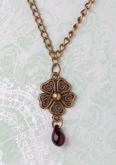 Bronze Toned Flower Necklace  Beaded Flower by CharmingThreadwares