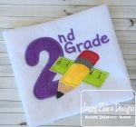 2nd Grade Ruler and Pencil Applique Embroidery Design