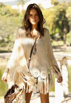 Sexy boho chic look with modern hippie tassel poncho. FOLLOW> https://www.pinterest.com/happygolicky/the-best-boho-chic-fashion-bohemian-jewelry-gypsy-/< for the BEST 2015 Bohemian fashion trends.