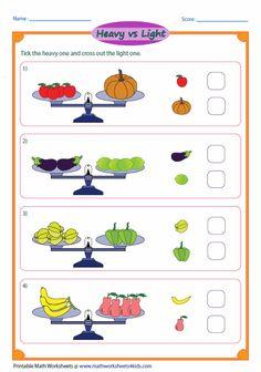 Order Of the Mass Worksheet Unique Heavy and Light Worksheets Measurement Kindergarten, Measurement Worksheets, 2nd Grade Worksheets, Kindergarten Math Worksheets, Preschool Math, Math Activities, Kindergarten Clipart, Visual Perceptual Activities, Shapes Worksheets