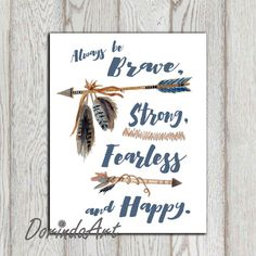 Boy wall quotes Be brave strong fearless Boy Nursery by DorindaArt