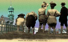Carte illustrée (collage) : Trains de plaisir, un dimanche à Mons & http://thermodynamique.be/?page_id=90