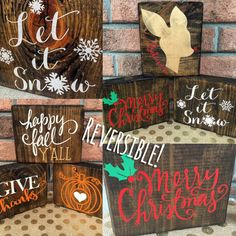 Fall Christmas reversible wood block set Fall sign Christmas Sign Fall decor Christmas blocks Seasonal home decor Reversible blocks by CoastalCraftyMama on Etsy Christmas Blocks, Christmas Wood, Christmas Signs, Christmas Time, Christmas Decorations, Christmas Christmas, Christmas Ideas, Pallet Crafts, Wooden Crafts