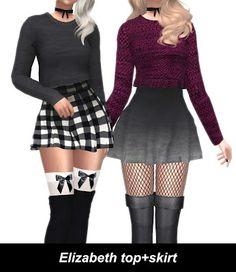"""The Sims 4 Mody: Top i spódniczka """"Elizabeth"""" od Kenzar Sims"""