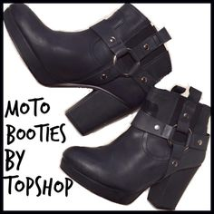 Topshop Moto Booties Other than the fact that they don't fit me properly, these matte black leather Moto booties are absolutely perfect. I adore them so much that I searched for them for about a week. They are in mint condition with small scuffs on the toes which are not noticeable unless you are specifically searching for it. They have a 3 1/2 in heel. Worn only twice. Topshop Shoes
