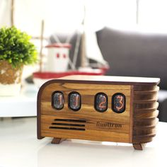 VINTAGE NIXIE CLOCK - Art Deco design with Soviet Nixie tubes made during the Cold War Era  - Wooden enclosure handcrafted by Nuvitron