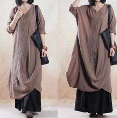 Khaki Cotton Linen Dress Loose Fit Dress Long Sleeve Dress Maxi Dress  Travel Line Clothes large size dress D128