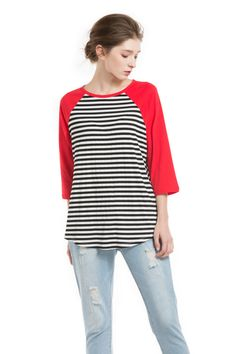 Knitbest Womens Round Neck 3/4 Sleeve Striped Tops  47% Cotton 47% Polyester 6% Spandex  Machine Wash-Cold (30° Max)  Model's profile: 175cm/68.90inch, Bust:82cm/32.28inch, Waist:60cm/23.62inch, Hip:89cm/35.04inch
