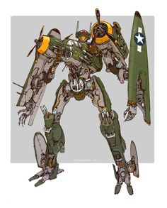 March of Robots: B-25 Bomber Transformer. Could be Jetfire? Get my artbook SUPER ROBOT BOMBER here:https://tinyurl.com/j7exuzv