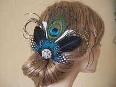 Elegant Peacock Fascinator with Guinea Fowl by Dress2ImpressEtsy
