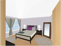 Using online interior design program RoomSketcher, I created several shots of what I want my apartment's master bedroom to look like...
