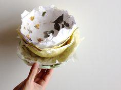 Tolle DIY-Frühlingsidee: Papierschale mit gepressten Blüten. Auch schon für kleinere Kinder geeignet. Also: Auf zum Frühlingsspaziergang und Blüten sammeln!