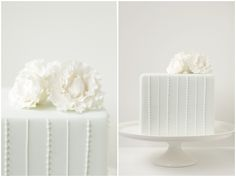 pure white, modern wedding cake