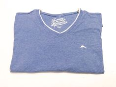 Tommy Bahama XXL V-Neck Men's Short Sleeve Blue T-Shirt Cotton 2XL #TommyBahama #BasicTee