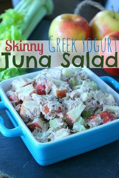 Healthy Tuna Salad with Greek Yogurt for extra protein, and apples. Great alternative to Tuna salad with mayo, perfect with whole wheat bread as a sandwich or on it's own!