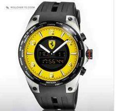 Ferrari Mens Yellow World Time Watch   eBay