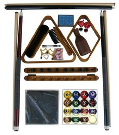 """Oak Finish Billiard Pool Table Accessory Kit W Dark Marble Style Ball Set by Iszy Billiards. $94.95. This kit are upgraded from most kits in this price range on the internet. - The cues are made of hardwood Canadian maple instead of soft white maple,  the cover is made of rip resistant nylon instead of thin vinyl. - 2 - 57"""" two piece hardwood Canadian maple cues -1 - two piece cue bridge - 1 - complete set of Dark Marble style regulation size, and weight balls  - Oak finish 8 c..."""
