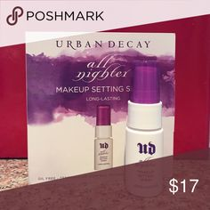 Urban Decay makeup setting spray Urban Decay all nighter makeup setting spray long lasting. Never used. 0.5 fl.oz Urban Decay Makeup