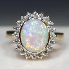 Natural Australian Solid Opal and Diamond Gold Ring - Size 7 Code - RL49 Gold Diamond Rings, Gold Rings, Gemstone Rings, 10k Gold Ring, Opal Color, Australian Opal, White Opal, Opal Jewelry