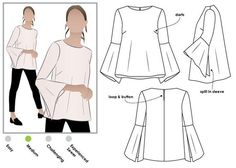 Harlow Top - Sizes 10 & 12 - PDF sewing pattern for printing at home by Style Arc - Instant Downl Vogue Patterns, Pdf Sewing Patterns, Clothing Patterns, Free Sewing, Black And White Baby, Cut Shirts, Top Pattern, Silhouette, Style