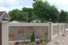 Stone Wall Panels Fencing - Use Advanced Precast Concrete Forming Instead House Fence Design, Grill Gate Design, Front Wall Design, Exterior Wall Design, Modern Fence Design, Exterior Wall Cladding, Wall Tiles Design, Concrete Fence Wall, Precast Concrete