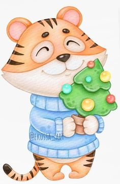 Space Watercolor, Watercolor Tiger, Watercolor Ocean, Cute Tigers, Pig Art, Wooden Tags, Christmas Invitations, Country Paintings, New Year Card