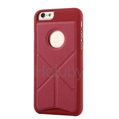 Fashionable Foldable Flip Stand PC+PU Leather Case for iPhone 6 6S 4.7 inch (Red)