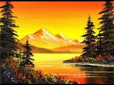 awesome Orange Mountain Lake / Small & Simple Oil Painting Exercise for Beginners Simple Oil Painting, Oil Painting For Beginners, Easy Canvas Painting, Beginner Painting, Painting Videos, Painting Lessons, Painting Techniques, Bob Ross Paintings, Scenery Paintings