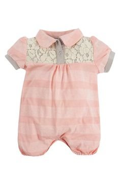 ab2fed3424f4 Andy   Evan Lace Yoke Polo Bubble Romper (Baby Girls)