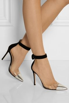 Made in Italy, Gianvito Rossi's hand-finished pumps have a silver leather pointed toe, clear PVC panels and a black suede
