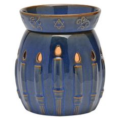Menorah Full-Size Scentsy Warmer PREMIUM Azure over amber, this warmer features unique color variation and a high-gloss reactive-glaze finish and fills a room with the delicate appearance of candlelight. Hanukkah Crafts, Feliz Hanukkah, Hanukkah Decorations, Hanukkah Lights, Happy Hannukah, Jewish Hanukkah, Cultura Judaica, Menorah Candles, H Design