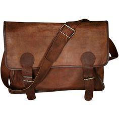 VIPARO Tan 17 Inch Large Vintage Wash Leather Satchel Messenger Bag - Gustaf