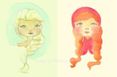 Vintage style Frozen Elsa and Anna by NewsPaperBalloon on Etsy, $13.00