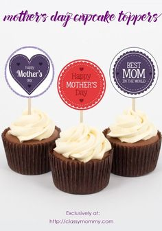 Free Printable Mother's Day Cupcake Toppers Cupcakes For Men, Mothers Day Cupcakes, Mothers Day Cake, Diy Mothers Day Gifts, Easter Cupcakes, Themed Cupcakes, Fun Cupcakes, Happy Mothers Day, Cupcake Toppers Free