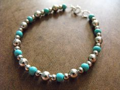 Turquoise Glass Beaded Bracelet with Silver by JudeandIslaDesigns, $8.00