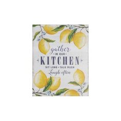 """Creative Co-Op """"Gather in Our Kitchen."""" Wood Wall Décor with Lemons Antique Farmhouse, Modern Farmhouse Kitchens, Farmhouse Style Decorating, Farmhouse Decor, Farmhouse Ideas, Decorating Kitchen, Farmhouse Interior, Country Farmhouse, Lemon Kitchen Decor"""