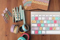 If you don't know what washi tape is, it's time to get in the know! Washi tape is paper tape that comes in about a million patterns and colors, is easy to remove, and is just the thing you need to create a warmer workspace. From colorful keys to the cutest clothespins around, here are 8 DIY projects for a quick and easy desk makeover.