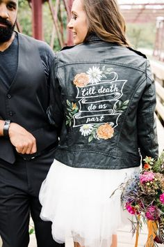 Custom Hand Painted, Personalized Jacket Gifts for Brides, Reception Jacket, Just Married Jacket, Wedding Leather Jacket Embroidered Leather Jacket, Painted Leather Jacket, Women's Converse, Custom Converse, Wedding Jacket, Painting Leather, Green Wedding Shoes, Just Married, Woman Shirt