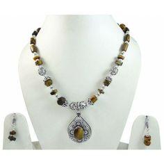 Tribal Silver Tone Tiger Eye Stone Pendant Necklace Set Fashion Jewelry Gift Set Fashion, Tribal Fashion, Fashion Jewelry, Tribal Earrings, Tribal Jewelry, Beaded Necklace, Jewelry Sets, Jewelry Making, Steel Jewelry