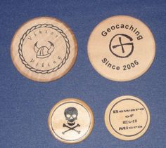 """Geocaching swag """"wooden nickel"""" signature coins...cool idea"""