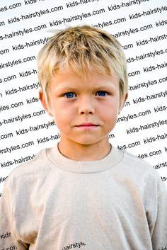 Boy's short brush forward hairstyle