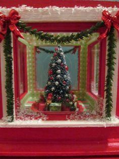 Rotating miniature Christmas diorama music box by WhimsyFineArt, $55.00