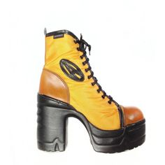 DESTROY 90's Vintage Platform Lace Up Yellow Chunky Boots ($246) ❤ liked on Polyvore featuring shoes, boots, ankle booties, canvas boots, yellow boots, chunky lace up boots, vintage lace up boots and lace up booties