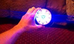 Diy arc reactor for iron man costume- hubby wanted to be iron man for halloween, but making the armor would definitely take many many hours. But he could just be tony stark lol Arc reactor is probably the easiest part to make!