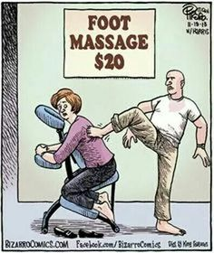 Not quite how we do our foot massage here!  Come to Fulcher's Therapeutic Massage in Imlay City, MI and Lapeer, MI for all of your massage needs!  Call (810) 724-0996 or (810) 664-8852 respectively for more information or visit our website lapeermassage.com!