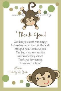 LynnetteArt: Monkey Baby Shower Thank You Cards Printable